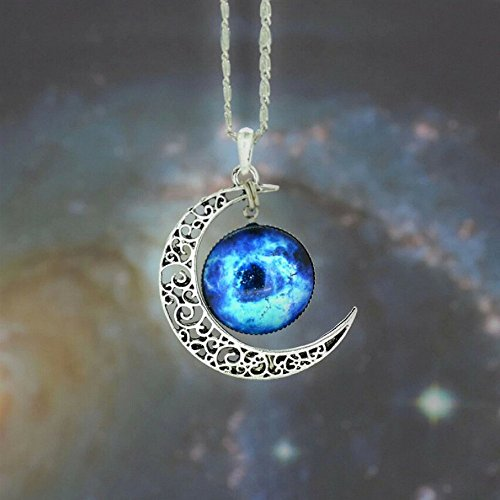 Luvalti 44Galaxy and Crescent Cosmic Moon Pendant Necklace